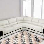 Furniture Clearance Modern Off White Leather Sectional Model Max