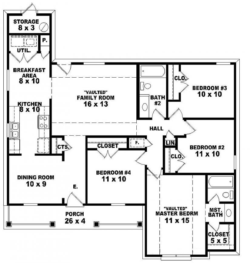 Bedroom House Plans One Story Joy Studio Design