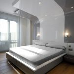 Fabulous Minimalist Modern Bedroom Design Layout Having Seamless White Ceiling