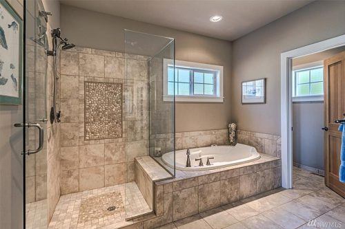 Gorgeous Master Bath Extra Large Walk Shower Glass Door Ideas