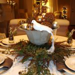 Rustic Brown Wooden Dining Table Decoration Garland Candles Interior Elegant