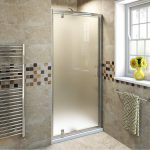 Small Narrow Modern Bathroom Design Brown Wall Ceramic Tiles Frosted Glass