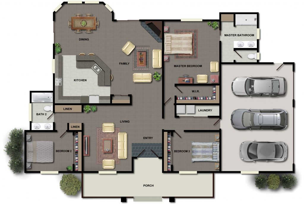 Three Bedroom House Floor Plans Small Home